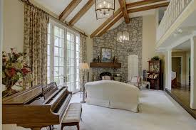 french country home office. The Hardwood Floors Continue To Living Room With Built-ins. This Cozy Space Can Also Serve As A Home Office. French Country Office