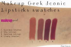 makeup geek iconic lipsticks gullible shy spoiled lively swatches
