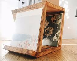 Photo Album Display Stand Aframe End Table Modern Display Stand Chunky Reclaimed Wood 89