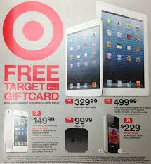 target promoting free gift cards with iphone ipad ipod apple tv purchases