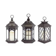 outdoor candles lanterns and lighting. Pack Of 3 Dark Brown Battery Operated Outdoor LED Candle Lanterns W/ Timers - Free Shipping Today Overstock 22945018 Candles And Lighting