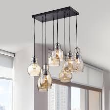 cluster pendant lighting. mariana 8light cognac glass cluster pendant in antique black finish lighting