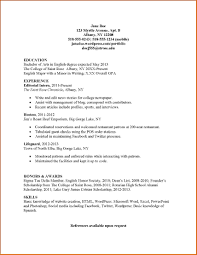 8 Internship Resume Template Lease Student Examples High School