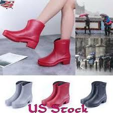 Details About Women Waterproof Wellies Wellington Rain Low Heel Rubber Rain Ankle Boots New Us