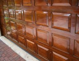 stain and varnish on wood garage door