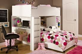 white solid wood desk integrated with loft bunk bed using metal ladder and polkadot pattern bed bed desk set
