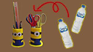 Cara membuat kursi dari botol bekas, daur ulang botol bekas, kreasi botol bekas sarung batik. Tempat Pensil Minion Dari Botol Bekas Youtube