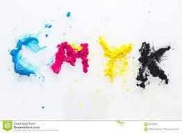 Cmyk Colour Toner For Printer Cyan Magenta Yellow Stock Image