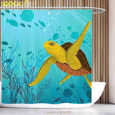 sea turtle shower curtain stylish shower curtain turtle cartoon cute animal under the sea silhouettes of
