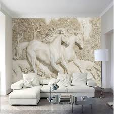 3d wall paper home improvement decorative wallpaper for walls living room 3d stereo relief white horse