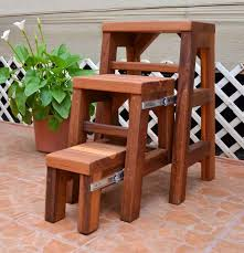 3 step wood stool by forever redwood