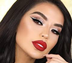 7 red lipstick makeup looks for every day of the week glitter eyeliner and red lips
