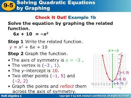 holt algebra 1 lesson 9 5 solving quadratic equations by graphing