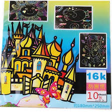 1x10 sheets magic scratch art painting paper with drawing stick kids toy l