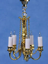 dollhouse miniature 5 arm chandelier in gold by miniature house