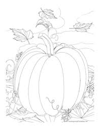 Small Picture This Thanksgiving coloring page features a giant pumpkin and fall