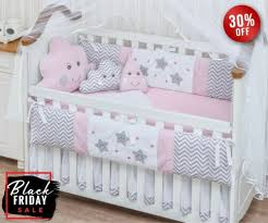 nursery crib bedding set embroidered