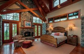 Rustic Master Bedroom With Fireplace