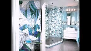 Mosaik Fliesen Badezimmer Kreise Hellblau Blumen Modern Dusche