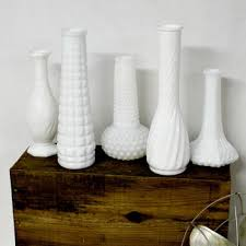 eclectic milk glass vase collection white milk glass vintage