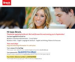 accept your offer to brock university   discover brock university    acknowledgement letter showing the ouac reference number