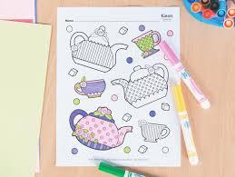 Tea Party Free Printables Tea Party Free Printable Coloring Page Fun365