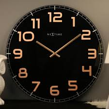 copper wall clocks awesome free on nextime silent classy wall clock black copper