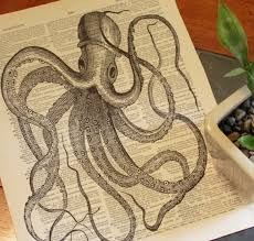 art artist book drawing ilration ink octopus paper plant wood