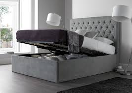 upholstered bed grey. Maxi Steel Grey Upholstered Ottoman Storage Bed Frame Only E