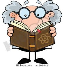 cartoon of a science professor reading a book royalty free vector clipart 1208542