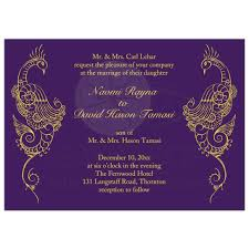 Wedding Invitation Elegant Mehndi Peacock In Purple