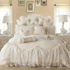 light white jacquard silk princess bedding set silk lace ruffles duvet cover bedspread bed skirt bedclothes king queen size king comforter sets purple