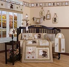 teddy bear crib sheet amazon com geenny boutique 13 piece crib bedding set baby teddy