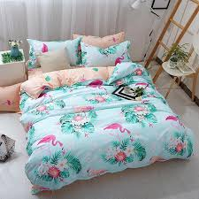 flamingo bedding set twin full queen king size green leaves flower bed sheet sets duvet cover pillowcases kids bed linen black bedding sets yellow