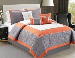 comfortable bed sets bedroom great queen size grey with orange bedding 4