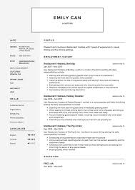 Hostess Resume Examples 100 Free Restaurant Hostess Resume Samples Different Designs 22