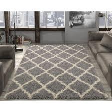 ottomanson ultimate gy contemporary moroccan trellis design grey 5 ft x 7 ft area