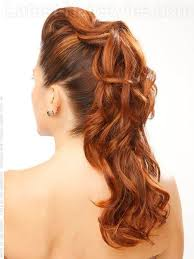 long curly cute prom hairstyles with pompadour back view