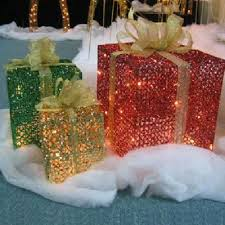 outdoor decor lighted fluffy  piece lighted glittering gift box sculptures