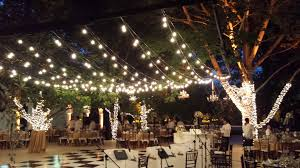 image of hanging outdoor patio string lighting
