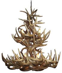 whitetail deer tall boy double tier antler chandelier light large no shades