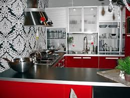 contemporary kitchen colors. Black, White And Red Kitchen Colors, Contemporary Cabinets Wall Decor Colors
