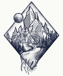 Fototapeta Horské A řecké Tetování A Tričko Design Meditace Symboly Cestování