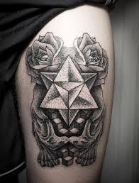 Triangle Geometric Rose Bone Leg Tattoo