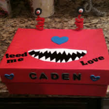 Valentine Shoe Box Decorating Ideas Love Monster Valentine card box Made from shoebox For all my 93