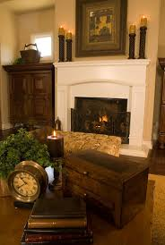 Tuscan coffee table Vignette and fireplace mantle