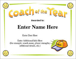 Coach Of The Year Certificate Softball Award Template