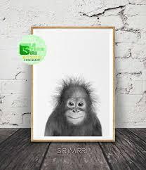 Baby Orangutan Print Nursery Wall Art Baby Safari Animal