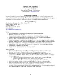 Resume Froelich, Anthony Construction Management. Anthony Tony J.  Froelich ...