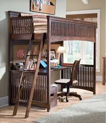 Rich Wood Adult Loft Bunk Bed With Workstation And Spacious Desk